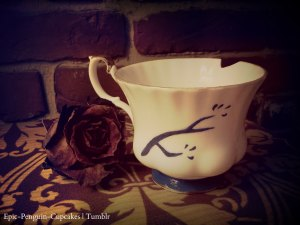 chipped tea cup